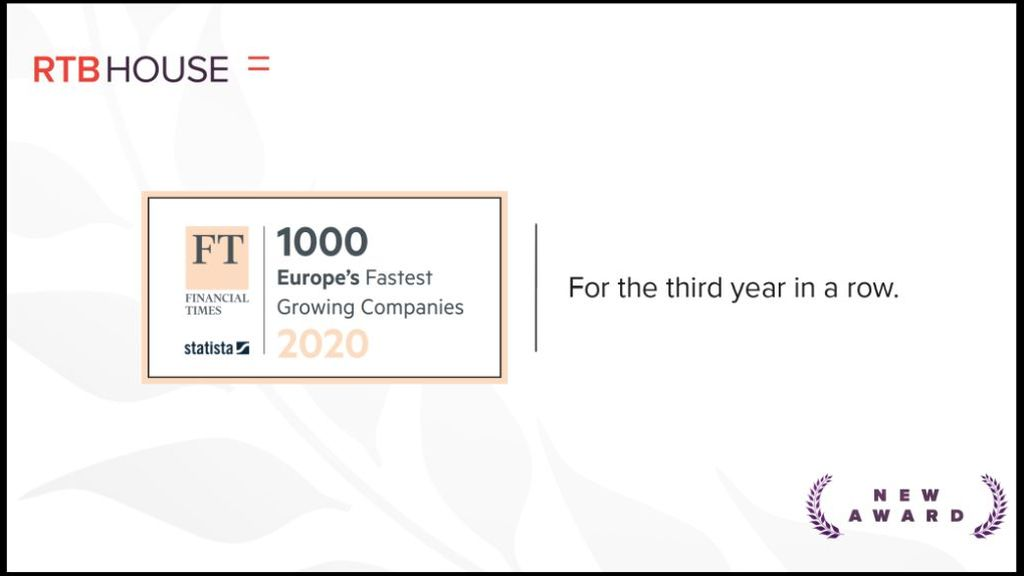 RTB House continues its expansion globally and ranks in the top Financial Times - FT1000 dedicated  to the fastest growing companies in technology
