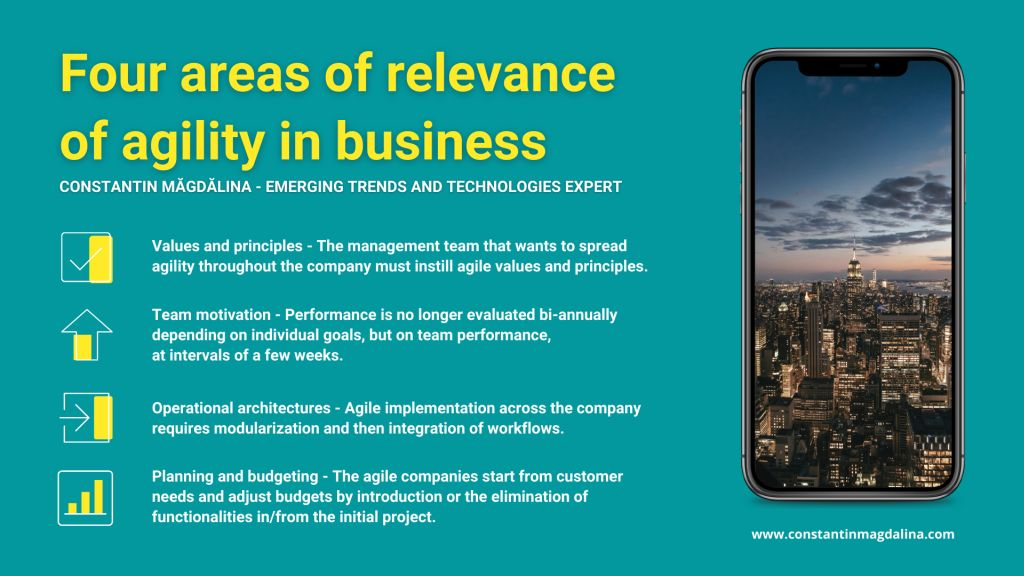 Four areas of relevance of agility in business