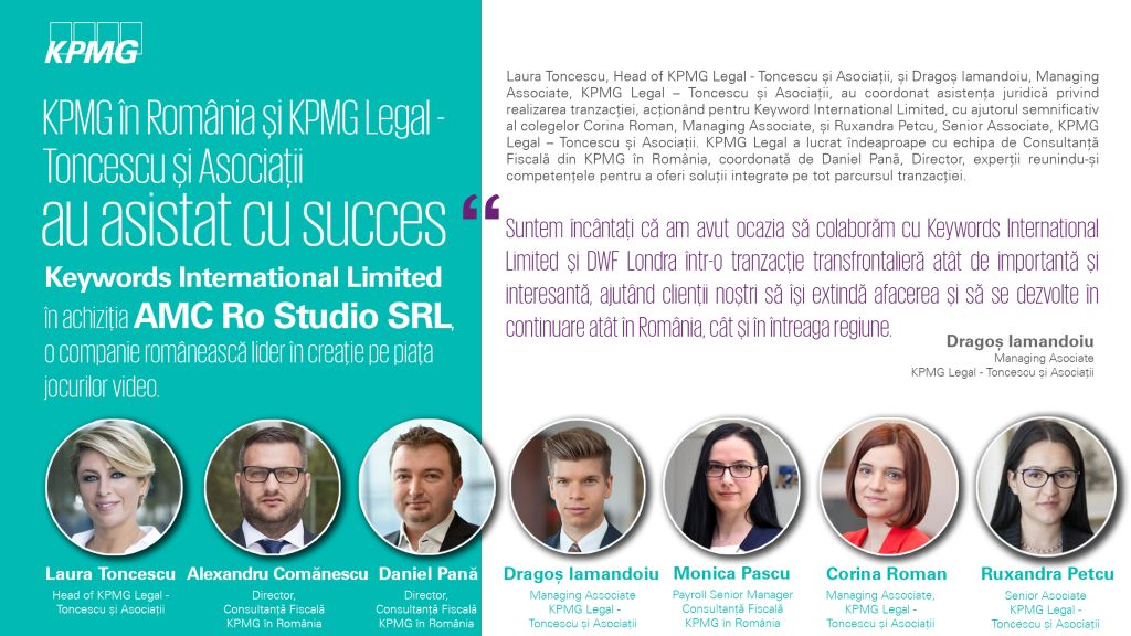 KPMG Legal - Toncescu si Asociatii advised Keywords International Limited in the acquisition of AMC Ro Studio, a world leading Romanian 3D art and design studio