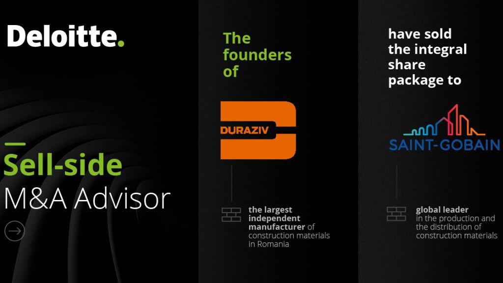 Echipa Deloitte Corporate Finance a asistat liderul in productia de materiale de constructii Duraziv in vanzarea catre Saint-Gobain